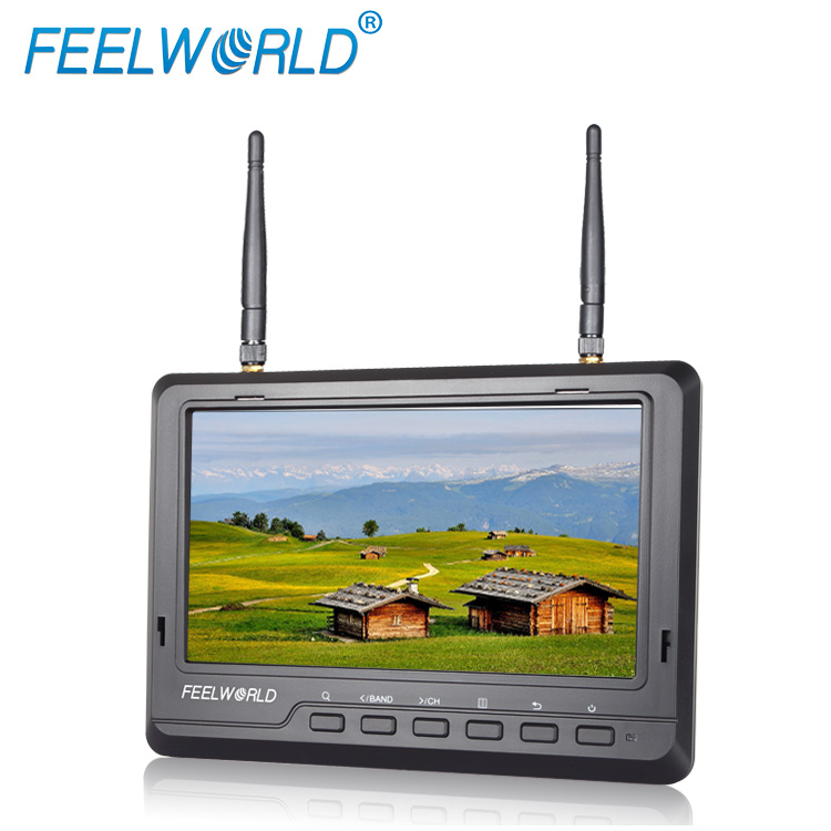 No glossy and fog screen ips panel 7 inch fpv 5.8g wireless monnitor 32ch battery built in rc flight simulator for sale