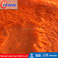 2015 Hot Selling Bright Orange Color Reversible Mesh Sequin Fabric