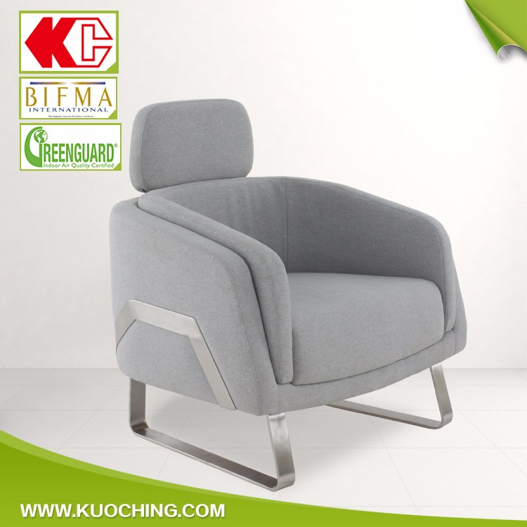 Nice Design Sled Metal Chair Foot Fabric Exotic Sofa