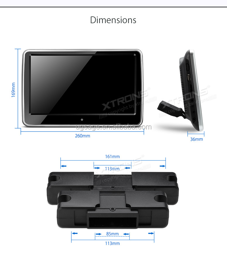 XTRONS 1024x600 cheap touch screen monitor with Built in Speakers, car head rest monitors