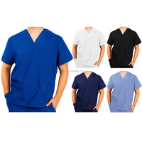 Unisex Men Women Natural Uniforms, V-Neck Medical Hospital Nursing Scrub