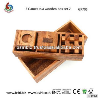 wooden 3 Games in a wooden Box