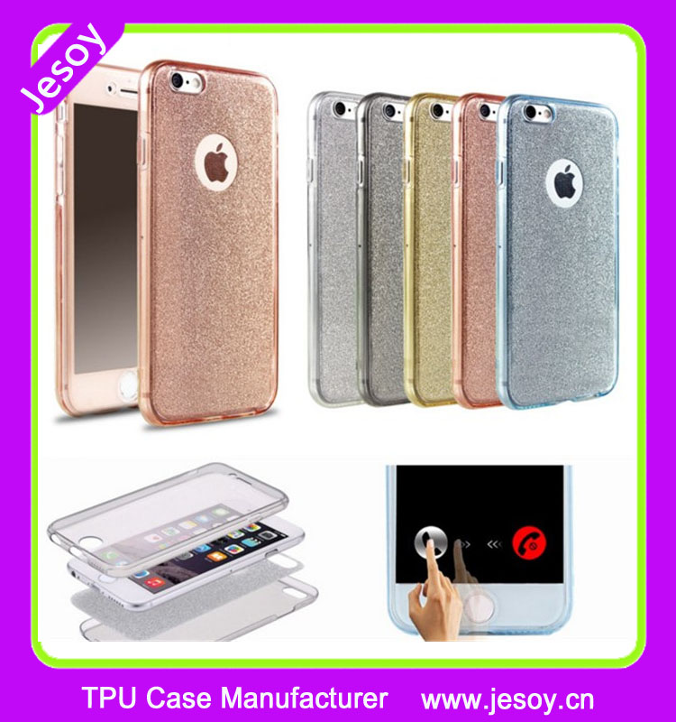 JESOY Shockproof 360 TPU Gel Protective Glitter Bling Pink Mobile Cases Cover For iPhone 6