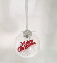 clear Plastic PET bauble with snow inside