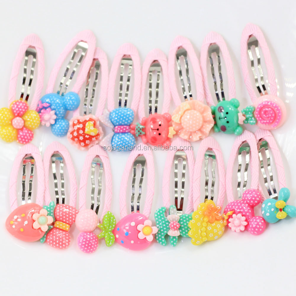 Baby Kids Girl Cute Metal Alloy BB Hair Clips Cartoon Flower Fruit Cake Resin Snap Hairpins Colorful Barrettes
