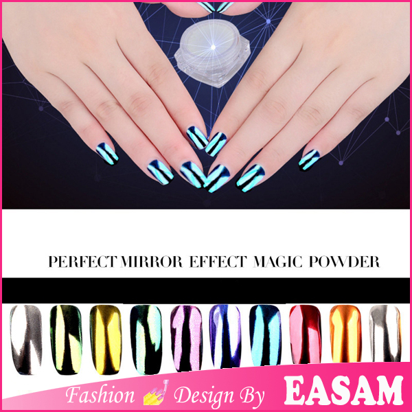 Magic mirror powder for uv gel with 12 colors chrome pigment powder nail