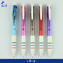High quality office multi color plastic ball pen / three color plastic pen