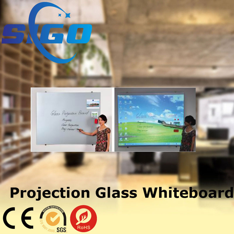 projection magnetic glass whiteboard/white teaching board
