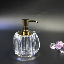 2016 New style hotel luxury brass top clear k9 crystal bottle soap dispenser bathroom accessories set
