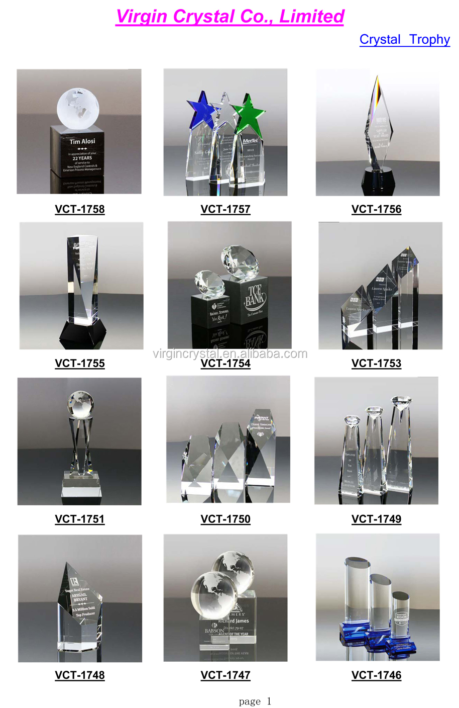 Wholesale crystal glass craft golf trophy awards as sports and office souvenir gifts