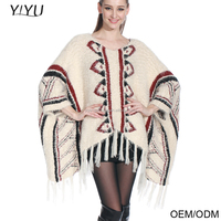 Wholesale beautiful design sweater jacquard pattern wool fringe soft aztec pullover poncho for winter