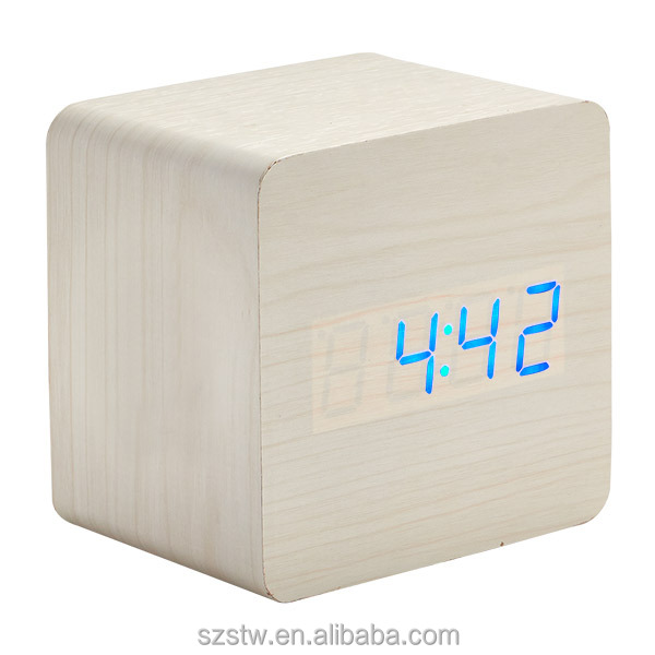 Custom christmas cube digital display time temperature wood clock , mini travel children desk station wooden alarm clock