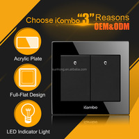 icombo QH-G8S2 mirror plates electrical outlet covers glass Wall light Switch