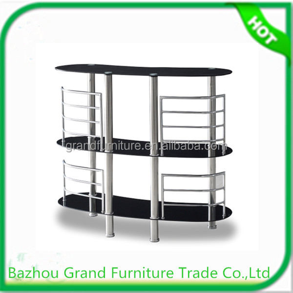 Top selling tempered glass bar table wine rack