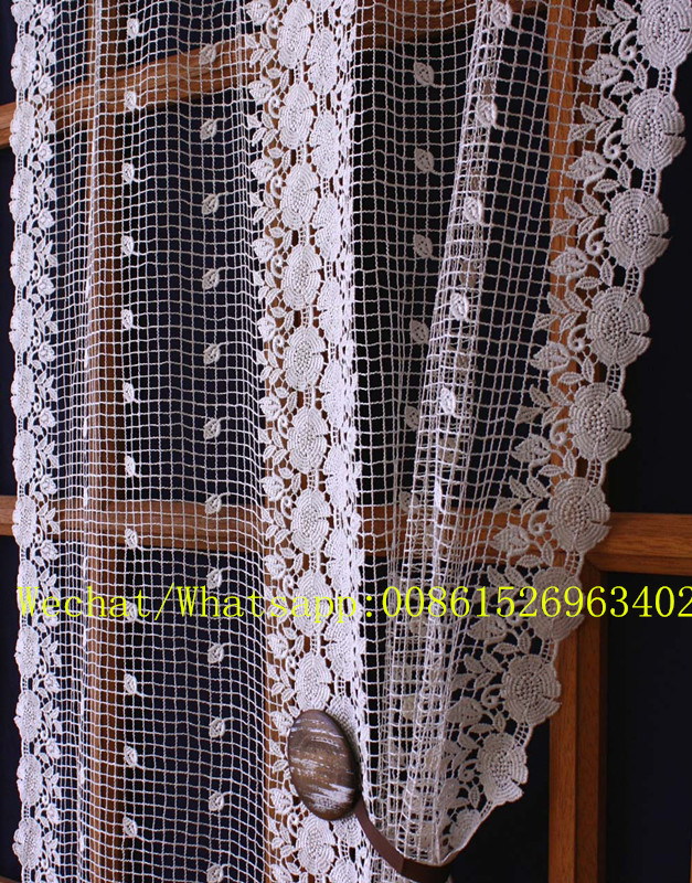 chiristams white kitchen curtain with trimming/ german lace cafe curtain for decoration