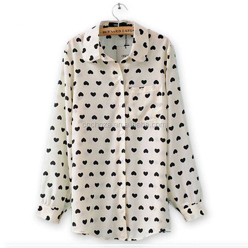 Z11034A Women latest fashion blouse design vivi collar printed blouse