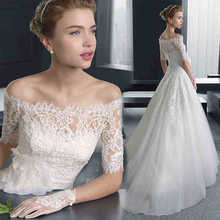 06W73 2016 Romantic Dresses Boat Neck Bridal Wedding Gown Vintage A Line White Lace Long Wedding Dresses