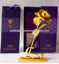 Artifical rose flwoer golden rose 24k for valentine gift 24k golden rose