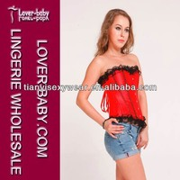 Enchanted Sexy Lady Lingerie Hot Plain Red Corset Top Bustiers