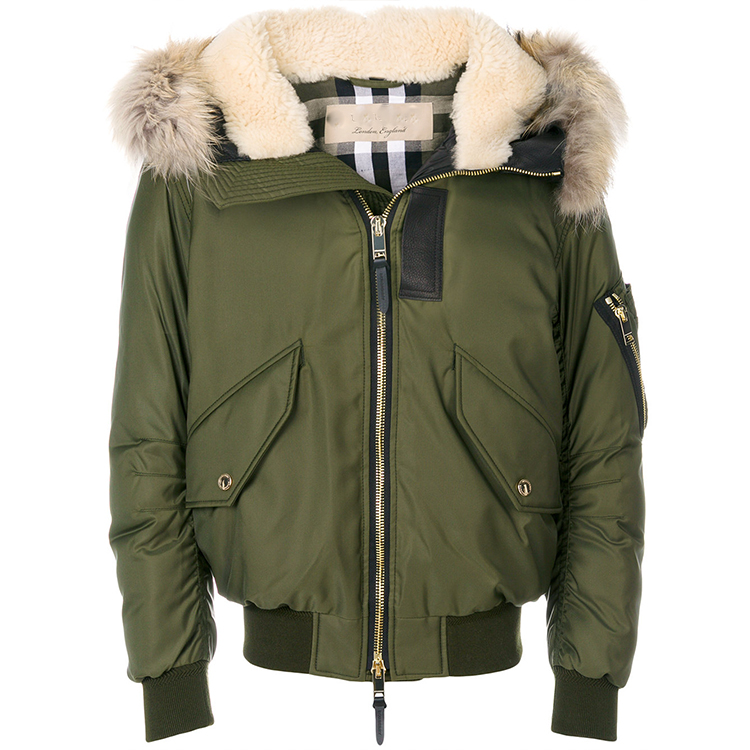 Khaki green applique hooded jacket fur trimmed hood feather down quilting men's winter jacket