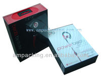 matte laminated magnetic hinged headphone premium gift box with plastic hanger