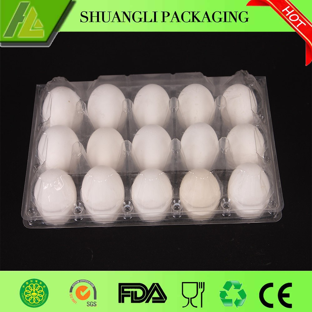 15 cells hard plastic pet egg packaging tray
