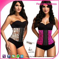 Cheap Sexy Leopard Printing Latex Corset Steel Bone Waist Training Corset