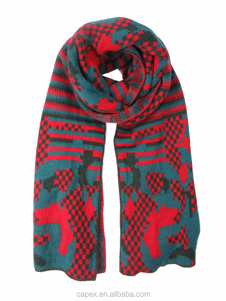 Red Happy Christmas Festival Long Thick Winter Knitted Scarf