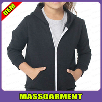 Kids Girls Plain Hooded Fleece Hoodie Zip Zipper Sweatshirt Top