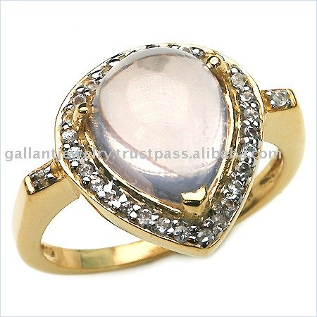 Captivating sterling silver ring with Rose Quartz & White Topaz gemstone !!