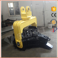 Excavator mounted hydraulic hammer pile driver for concrete piles