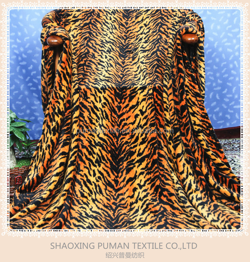 Flannel Fleece Blanket Super Soft double sides fur real tiger stripes bright color pattern design adult blanket