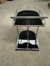 High quality Glass Kitchen Cart Trolley, with chrome frame