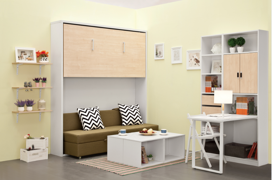 Modern style hidden wall bunk bed couch murphy bed