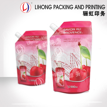 Custom Printed Aluminum Foil Stand Up Squeeze Pouch Refillable Beverage Plastic Bag With Screw Cap