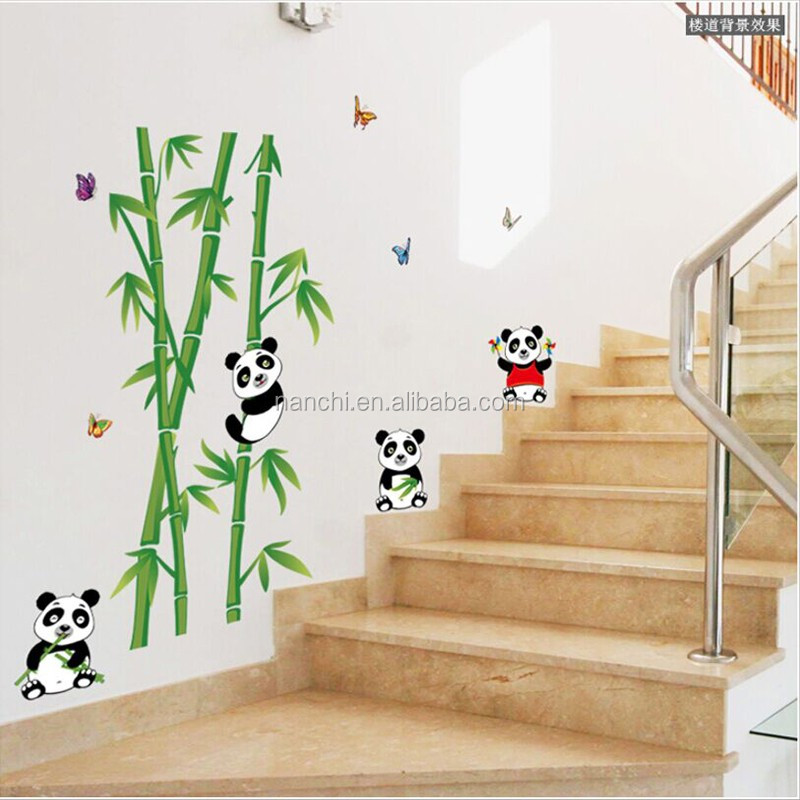 Cute Cartoon Panda Bamboo Wall Sticker For Kids Rooms Bathroom Home Decor Bedroom Living Room Wall Decals Vinyl Stickers