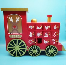 NEW!! Wooden Train Shape Advent Calendar 24 Cabinets for Christmas