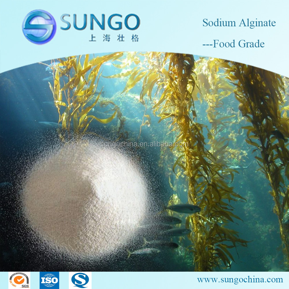 White Powder Food Grade Sodium Alginate Chemicals Used as Thickener & Stabilizer & Emulsifier