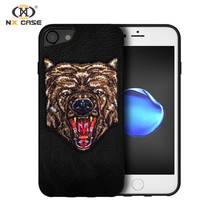 Tiger embroidary design phone case for iphone 7 plus phone case
