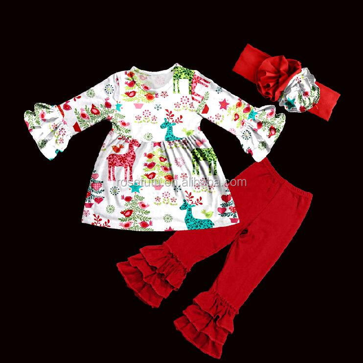 Children fall winter clothing sets girl kids Christmas clothes deer and bird pattern outfits