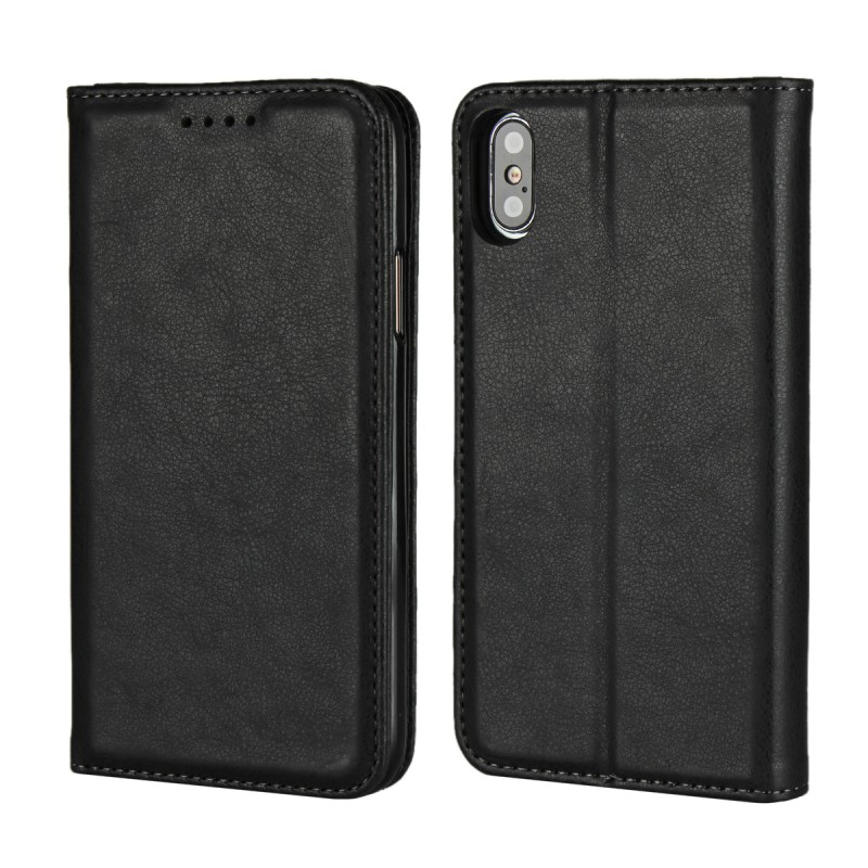 Wholesale Factory Cowhide Leather Wallet Book Design With ID Credit Card Slots Folio Case For iPhone X