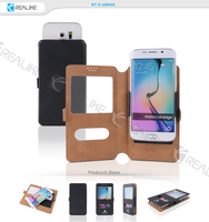 slide universal leather case for samsung galaxy s3,s4,s5,s6 window view flip smart cell phone 4-5 inch,5-6 inch