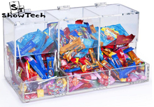 Plexiglass Lucite Stackable Clear Acrylic Candy Holder Display Bin Container Box with 3 Compartments ST-DSP6885SC3 E04