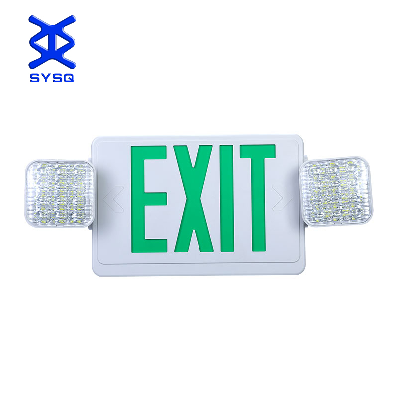 China <strong>Manufacturer</strong> ABS Material Green Letter Indoor 2*3w Twin Spot Portable Led Emergency Light Exit Sign