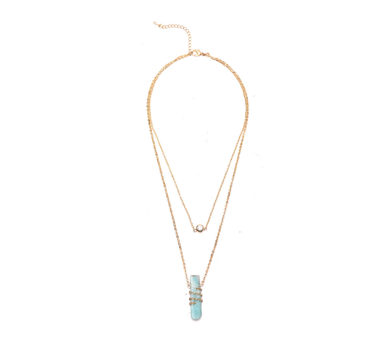 Women natural crystal pendant gold chain jewelry necklace