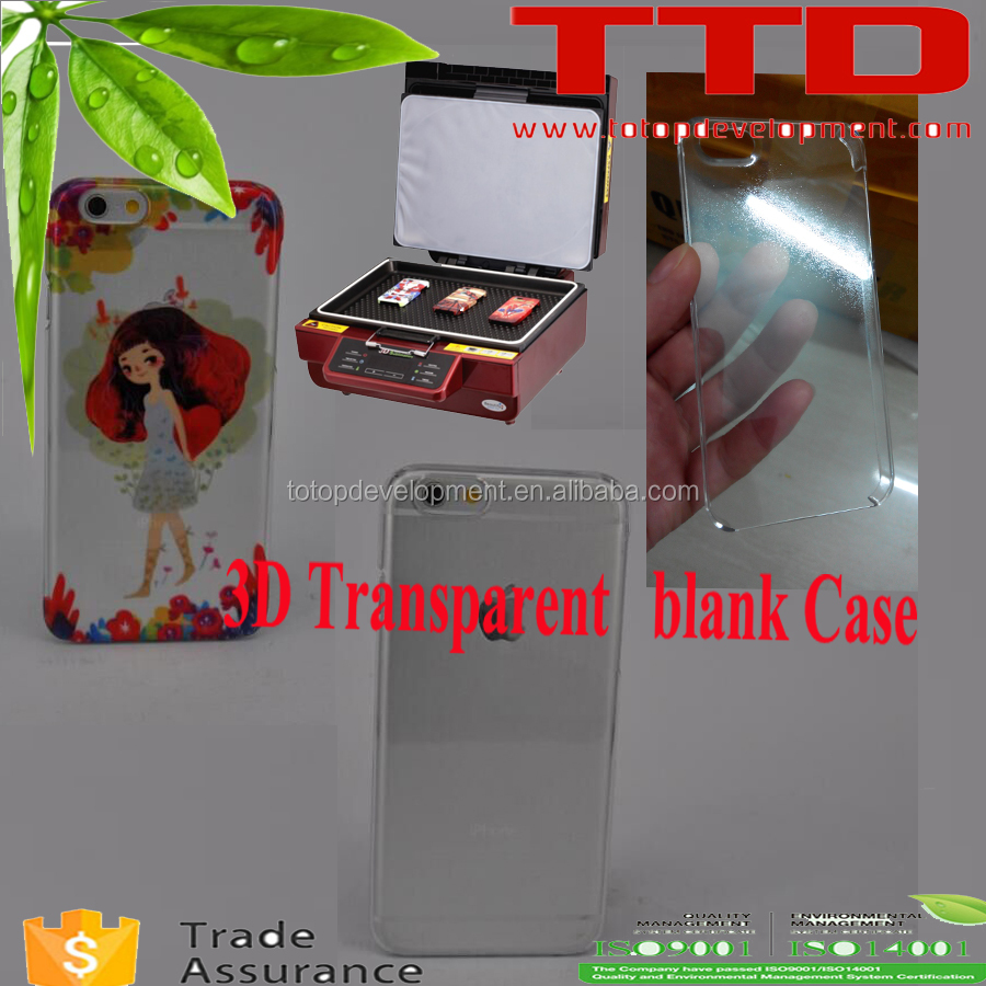 3D Sublimation Blank Phone Cover ,transparent color plastic blank phone cover