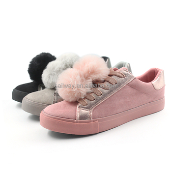 lady pom pom sneakers suede shoes vulcanized