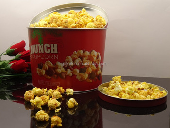 2016 Fashion motif design food safety standard Metal popcorn tin box