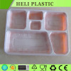 Big disposable 6 compartments takeaway food plastic tray