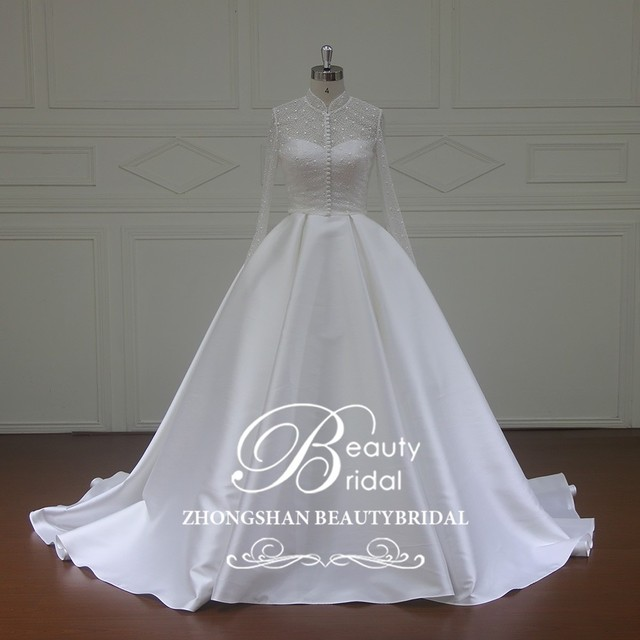 XFM034 elegant mikado wedding dress with detachable jacket 7 panels wedding gowns for wedding